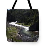 Fast Rapids On Firehole River Yellowstone  Tote Bag