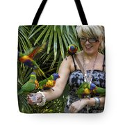 Feeding Rainbow Lorikeets Tote Bag