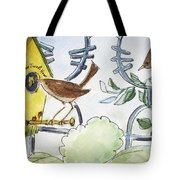 Feeding The Baby Wrens Tote Bag