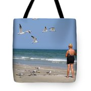 Feeding The Sea Gulls Tote Bag
