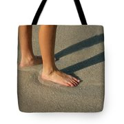 Feet In The Wet Sand Of A Beach Wait Tote Bag