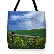 Fence And Flowers Tote Bag