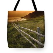 Fence And Sunset, Gooseberry Cove Tote Bag