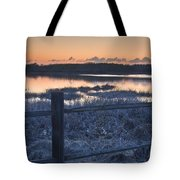Fence By Lake At Sunset Tote Bag