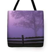 Fenceline Silhouette With Tree Tote Bag