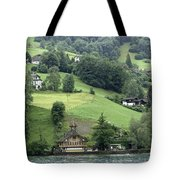 Few Houses On The Slope Of Mountain Next To Lake Lucerne Tote Bag