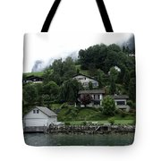Few Houses On The Slope Of Mountain Next To Lake Lucerne In Switzerland Tote Bag