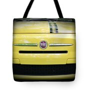 Fiat 500 Yellow With Racing Stripe Tote Bag