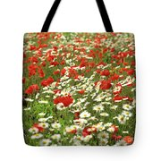 Field Of Daisies And Poppies. Tote Bag