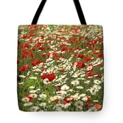 Field Of Poppies And Daisies In Limagne  Auvergne. France Tote Bag