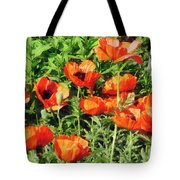 Field Of Red Poppies Tote Bag