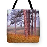 Field Pines And Fog In Shannon County Missouri Tote Bag