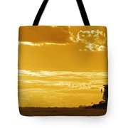 Field With Combine At Sunset Tote Bag