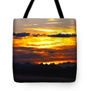 Fiery Sunrise Over The Cascade Mountains Tote Bag