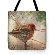 Finch Greeting Card With Verse Tote Bag
