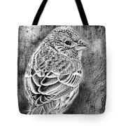 Finch Grungy Black And White Tote Bag