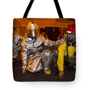 Firemen Brace For Shock Tote Bag