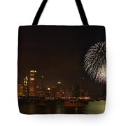 Fireworks Against Chicago Skyline Tote Bag