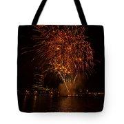 Fireworks On River Thames Tote Bag