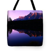 First Light On Mount Rundle Tote Bag