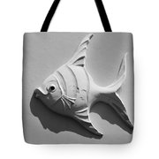 Fish And Shadow Face In Black And White Tote Bag