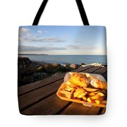 Fish 'n' Chips By The Beach Tote Bag by Rob Hawkins