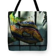 Fish On Fence Tote Bag