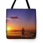 Fisherman At Sunset Tote Bag