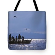 Fishermen Pulling Fishing Nets On Small Tote Bag