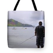 Fishing At The End Of The Pier Tote Bag
