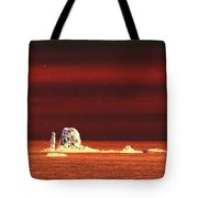Fishing Boat By Sea Stacks Tote Bag