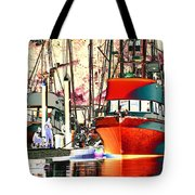 Fishing Boat In Harbor Tote Bag