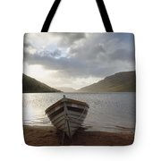 Fishing Boat Moored On Lough Nafooey Tote Bag