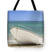 Fishing Boat On The Beach Tote Bag