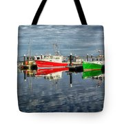 Fishing Boat Reflections At Macmillan Pier In Provincetown Cape  Tote Bag