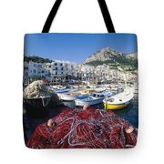 Fishing Boats And Nets In The Marina Tote Bag