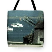 Fishing Boats And Windmill In Chatham On Cape Cod Massachusetts Tote Bag by Matt Suess
