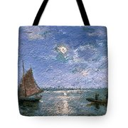 Fishing Boats By Moonlight Tote Bag