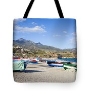 Fishing Boats On A Beach In Spain Tote Bag