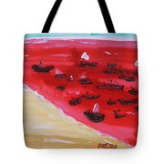 Fishing Boats On A Red Sea Tote Bag