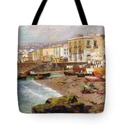 Fishing Boats On The Beach At Marinella Naples Tote Bag