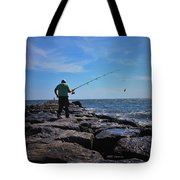 Fishing Off Of The Jetty Tote Bag