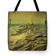 Fishing The Jetty - Island Beach State Park   Nj Tote Bag