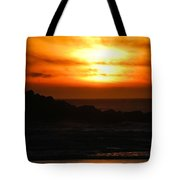 Fishing Vessel At Sunset Tote Bag