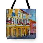 Flags On The Buildings Tote Bag