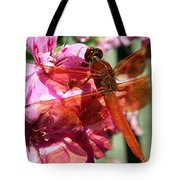 Flame Skimmer Dragonfly Tote Bag