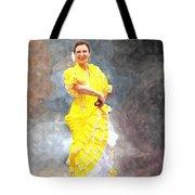 Flamenco Dancer In Yellow Tote Bag