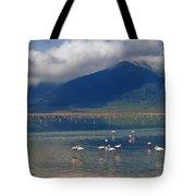 Flamingoes In Crater Lake At Ngorongoro Tote Bag