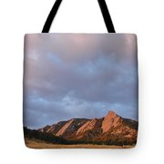 Flatirons At Chautauqua In Early Morning Tote Bag