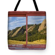 Flatirons Boulder Colorado Red Barn Picture Window Frame Photos  Tote Bag